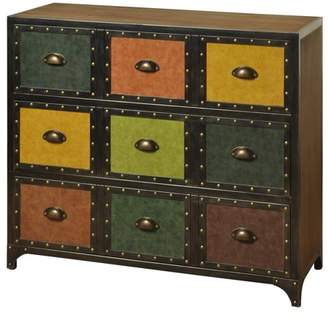 Generic 3-Drawer Metal & Fir Wood Chest w/ Textured Faux Leather Drawer