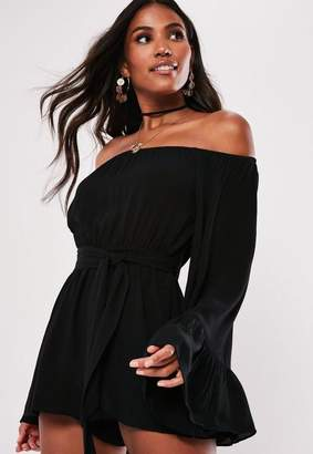 Missguided Tall Black Flare Sleeve Bardot Romper