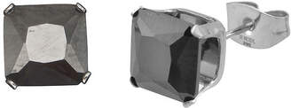 JCPenney FINE JEWELRY Black Cubic Zirconia 8mm Stainless Steel Square Stud Earrings