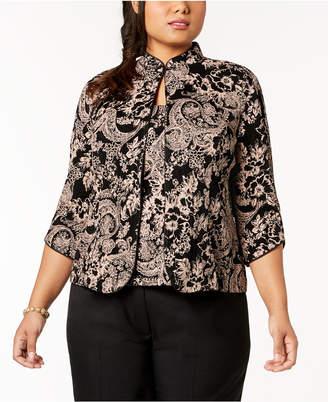 Alex Evenings Plus Size Glitter Paisley-Print Jacket & Shell