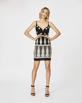 Nicole Miller Enchanted Embroidered Plunge Mini Dress