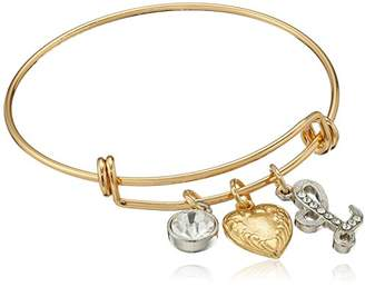 1928 Jewelry 14k Gold Dipped Heart L Initial Crystal Charm Bracelet