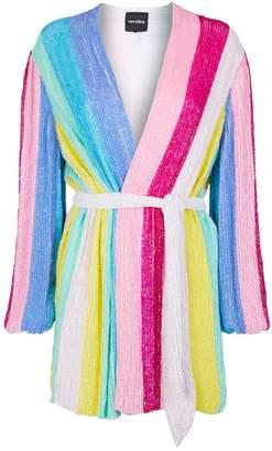 retrofete Gabrielle Sequin Stripe Wrap Dress