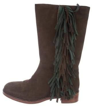 Via Spiga Suede Fringe-Trimmed Boots