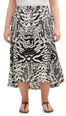 Romantic Gypsy Women's Plus Drawstring Midi Skirt