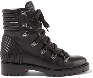 faae5478fa33 Christian Louboutin Black Leather Rubber Boots For Women - ShopStyle ...