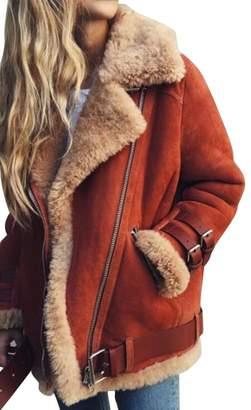 Oberora-Women Winter Warm Zipper Belted Suede Lamb Wool Coat Shearling Jacket L