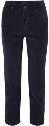 GRLFRND Helena Cropped Cotton-blend Corduroy Straight-leg Pants - Navy