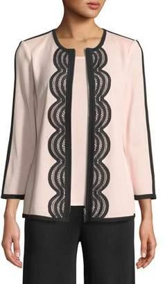 Misook Contrast Lace-Trim Zip-Front Jacket