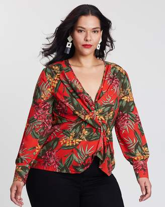 Tropical Drape Plunge Blouse