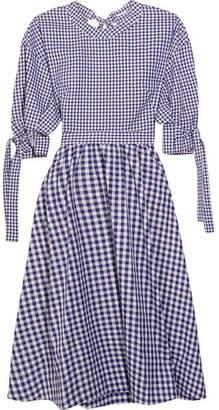 Rosetta Getty Open-back Gingham Cotton Dress - Navy