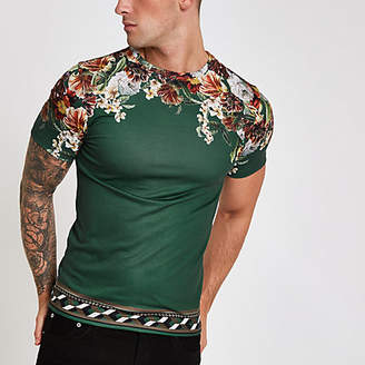 River Island Mens Green floral shoulder print slim fit T-shirt