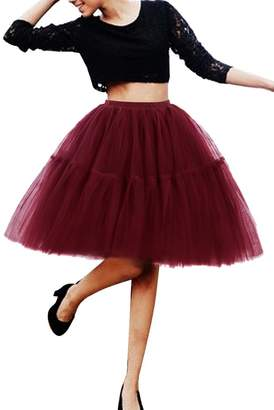 Imixshop Women's 6 Layers Midi Mesh Tutu Tulle Skirts Petticoat Prom Party Dress