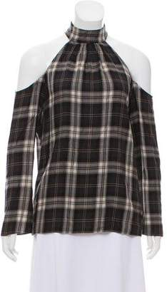 DREW Cold-Shoulder Tartan Top