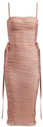 Dolce & Gabbana Laced Ruched Tulle Dress - Womens - Pink