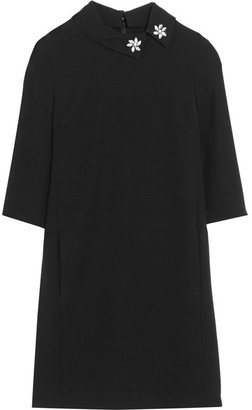 McQ Alexander McQueen - Crystal-embellished Crepe Mini Dress - Black $510 thestylecure.com