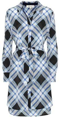 Diane von Furstenberg Plaid silk shirt dress