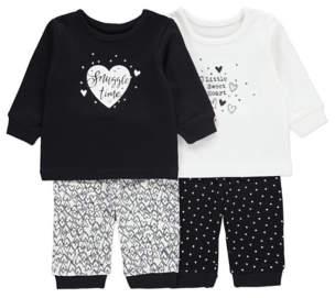 George 2 Pack Assorted Heart Print Pyjamas