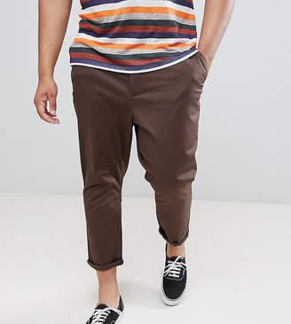 Asos Design DESIGN Plus tapered cropped chinos in dark brown