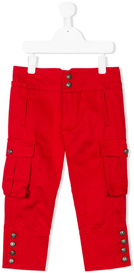 button-embellished cargo trousers