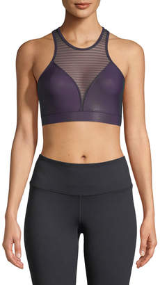 Onzie High-Neck Striped-Mesh Sports Bra