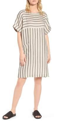 Eileen Fisher Stripe Linen & Cotton Shift Dress