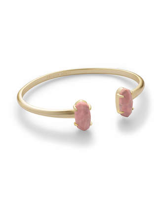 Kendra Scott Edie Gold Cuff Bracelet in Pink Rhodonite