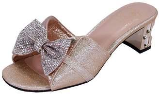 FLORAL Farrah Women Wide Width Rhinestone Bow Slip-On Pretty Ornate Block Heel Sandals 8