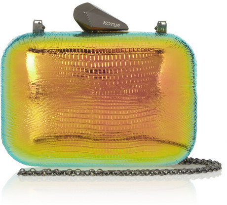 Kotur Morley Reflective iridescent lizard-effect clutch