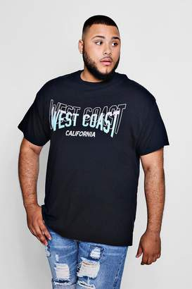 boohoo Big And Tall West Coast Print T-Shirt