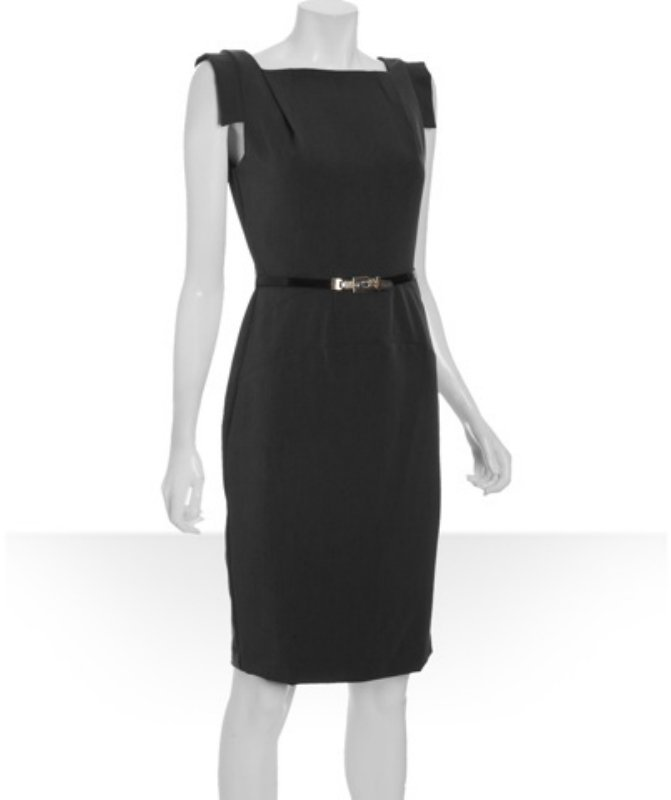 Single black stretch woven 'Victoria' belted sheath dress