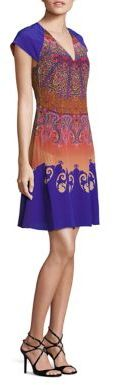 Etro Cap-Sleeve Silk Fit-&-Flare Dress $1,835 thestylecure.com