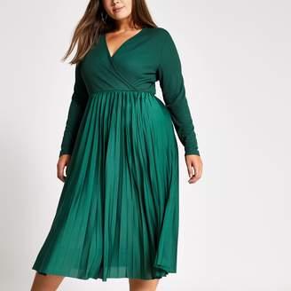 River Island Womens Plus dark Green wrap pleated midi dress