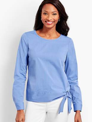 Talbots Poplin Side-Tie Top-Berry Blue