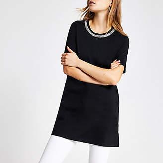 River Island Black embellished longline T-shirt