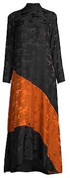 Ganni Women's Silk Jacquard Colorblock Midi Dress