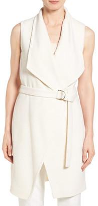 BOSS HUGO BOSS &Kalimi& Belted Wool Blend Knit Long Vest $595 thestylecure.com