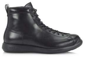 Giorgio Armani Lace-Up Leather Ankle Boots