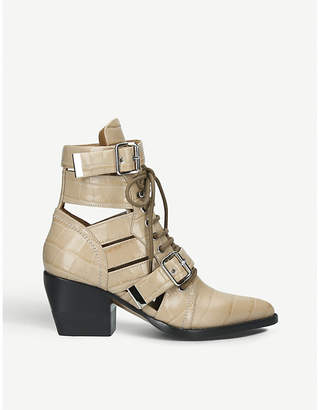 Chloé Rylee 60 alligator-embossed leather ankle boots