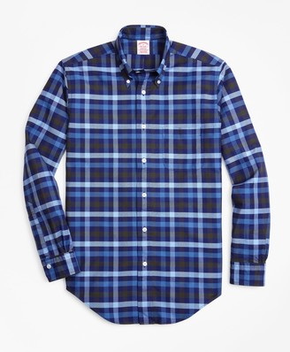 Brooks Brothers Madison Fit Oxford Two-Color Plaid Sport Shirt