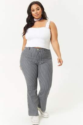 Forever 21 Plus Size Striped Flare Jeans