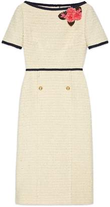 Gucci Tweed dress with floral appliqué