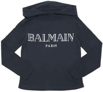 Balmain Hooded Logo Flocked Jersey T-Shirt