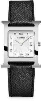 Hermes Heure H Stainless Steel& Leather Strap Watch
