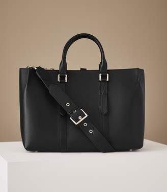 Reiss Picton - Leather Tote in Black