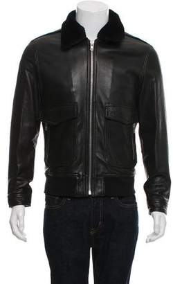 The Kooples Leather Bomber Jacket with Faux-Fur Collar
