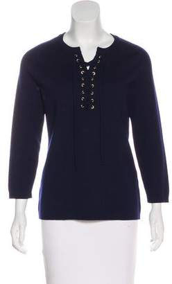 Barneys New York Barney's New York Merino Wool Lace-Up Sweater