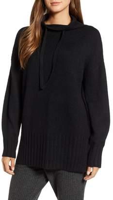 Lou & Grey Drawstring Funnel Neck Cotton Blend Sweater
