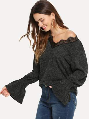 Shein Contrast Lace V-Neck Sweater