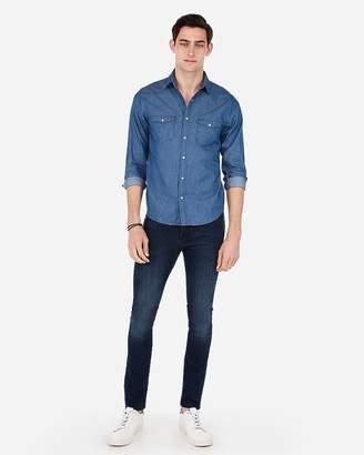Express Slim Side Stripe Western Denim Shirt